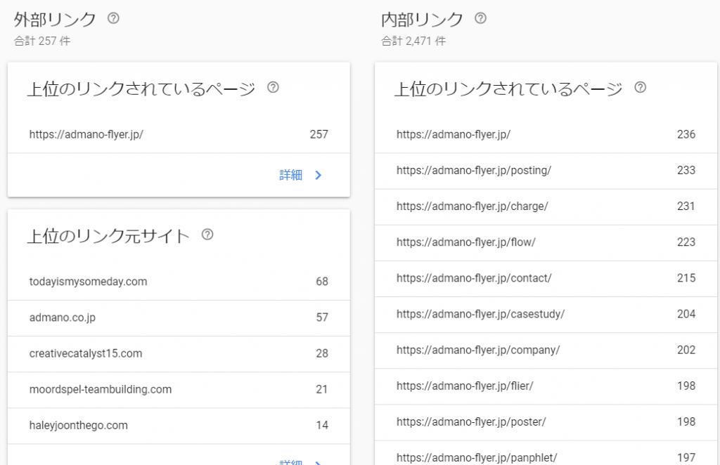 外部リンクGoogle search console