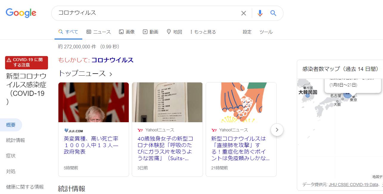 コロナウィルス検索結果